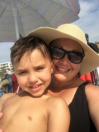 mom and coop at beach